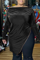 Black Fashion Casual Solid Slit Zipper Boat Neck Plus Size Tops