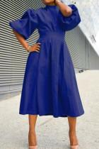 Deep Blue Fashion Casual Solid Split Joint Half A Turtleneck A Line Dresses