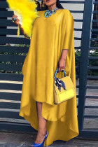Yellow Fashion Casual Solid Asymmetrical O Neck Long Sleeve Plus Size Dresses