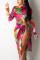rose red Sexy Print Bandage Tie-dye Slit O Neck Long Sleeve Mid Calf Pencil Skirt Dresses
