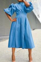 Light Blue Fashion Casual Solid Split Joint Half A Turtleneck A Line Dresses
