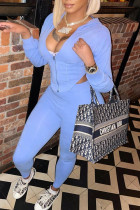 Sky Blue Fashion Casual Solid Asymmetrical Hooded Collar Long Sleeve Two Pieces