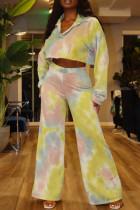 Yellow Fashion Casual Tie Dye Printing Turndown Collar Long Sleeve Two Pieces