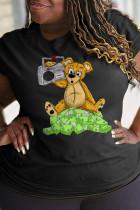 Black Sportswear Cute Character Split Joint O Neck T-Shirts