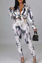 Grey Casual Print Split Joint Buckle Turndown Collar Long Sleeve Two Pieces
