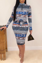 Blue Casual Print Split Joint With Belt Zipper Collar One Step Skirt Dresses