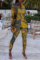 Yellow Sexy Print Split Joint Zipper Collar Regular Jumpsuits