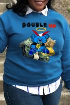 Blue Sportswear Cute Character Split Joint O Neck Tops