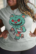 Grey Party Cute Character Split Joint O Neck T-Shirts