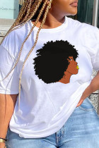 White Daily Cute Print Split Joint O Neck T-Shirts