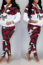 Red Casual Camouflage Print Split Joint Zipper Collar Long Sleeve Two Pieces