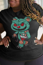 Black Party Cute Character Split Joint O Neck T-Shirts