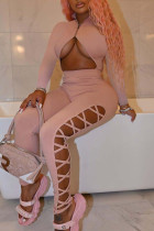 Pink Sexy Solid Hollowed Out Split Joint Zipper Zipper Collar Regular Jumpsuits
