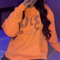 Orange Fashion Casual Hot Drilling Basic Hooded Collar Tops