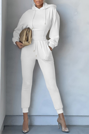 White Casual Solid Split Joint Hooded Collar Long Sleeve Two Pieces