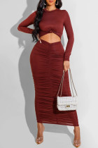 Burgundy Sexy Casual Solid Hollowed Out Fold O Neck Long Sleeve Dresses