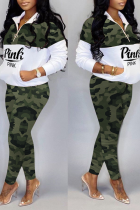 Green Casual Camouflage Print Split Joint Zipper Collar Long Sleeve Two Pieces