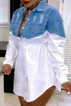 White Fashion Casual Plus Size Patchwork Ripped Turndown Collar Shirt Dress