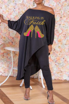 Black Casual Print Split Joint Asymmetrical Off the Shoulder Nine Points Sleeve Two Pieces