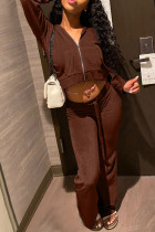 Coffee Fashion Casual Solid Split Joint Hooded Collar Two Pieces