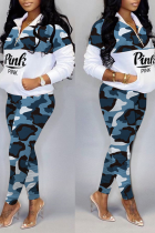 Blue Casual Camouflage Print Split Joint Zipper Collar Long Sleeve Two Pieces