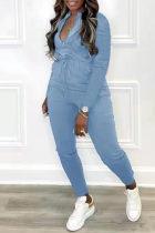 Blue Fashion Casual Solid Basic Zipper Collar Regular Jumpsuits