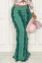Green Fashion Solid Split Joint Feathers Boot Cut High Waist Speaker Solid Color Bottoms