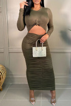 Army Green Sexy Casual Solid Hollowed Out Fold O Neck Long Sleeve Dresses