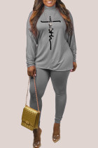 Grey Fashion Casual Print Basic Turtleneck Long Sleeve Two Pieces