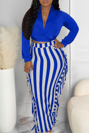 Peacock Blue Sexy Casual Patchwork Tassel V Neck Long Sleeve Two Pieces
