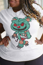 White Party Cute Character Split Joint O Neck T-Shirts
