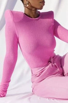 Rose Pink Sexy Solid Split Joint O Neck Tops