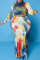 Black Sexy Patchwork Tie-dye Half A Turtleneck Trumpet Mermaid Plus Size Two Pieces