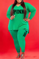 Green Casual Print Split Joint V Neck Plus Size Two Pieces