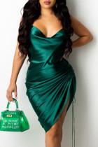 Green Fashion Sexy Solid Draw String Spaghetti Strap A Line Dresses