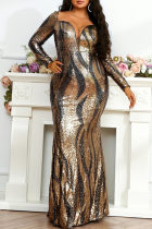 Black Gold Fashion Sexy Plus Size Patchwork Sequins V Neck Long Sleeve Evening Dress