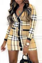 Khaki Pre-sale Sexy Casual Plaid Print Split Joint V Neck Long Sleeve Dresses