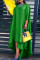 Green Fashion Casual Solid Asymmetrical O Neck Long Sleeve Plus Size Dresses
