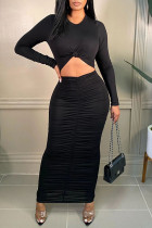 Black Sexy Casual Solid Hollowed Out Fold O Neck Long Sleeve Dresses