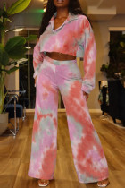 Rose Red Fashion Casual Tie Dye Printing Turndown Collar Long Sleeve Two Pieces