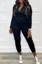 Black Fashion Casual Solid Basic Zipper Collar Regular Jumpsuits