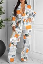 White Fashion Casual Print With Belt Turndown Collar Regular Jumpsuits