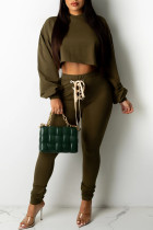 Dark Green Fashion Casual Solid Basic Hooded Collar Long Sleeve Two Pieces