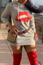 Light Gray Fashion Casual Lips Printed Basic Hooded Collar Long Sleeve Dresses