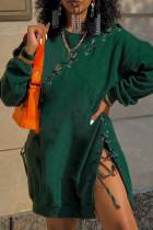 Ink Green Fashion Casual Solid Bandage O Neck Long Sleeve Dresses