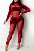 Red Sexy Solid Split Joint See-through Turtleneck Regular Jumpsuits