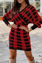 Red Fashion Casual Plaid Print Split Joint V Neck Long Sleeve Dresses