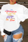 White Casual Daily Gradual Change Print Split Joint Letter O Neck Tops