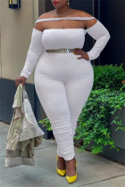 White Sexy Casual Solid Split Joint Backless Off the Shoulder Plus Size Jumpsuits
