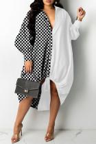 Black White Fashion Plaid Print Split Joint Turndown Collar Long Sleeve Shirt Dress